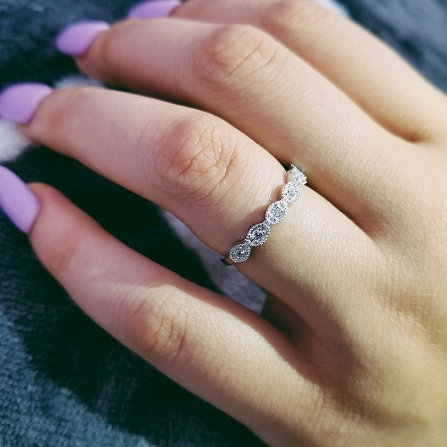 Original Design 925 Sterling Silver Band Eternity Ring For Women Love Finger Wedding Engagement Jewelry