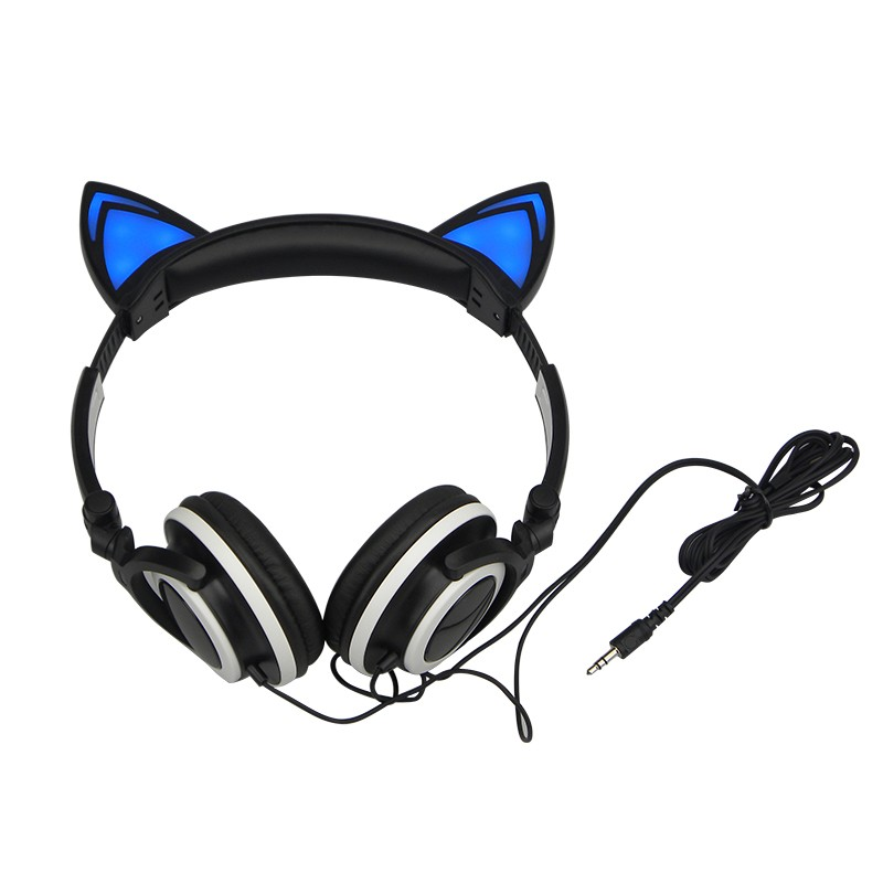 Foldable Flashing Glowing Cat Ear Headphones Gaming Music Headset Earphone With LED Light For PC Laptop Mobile Phone MP3 MP4 foldable bear ear recharging headphones panda gaming headset with glowing led light halloweeen gift for girls kids adults phones