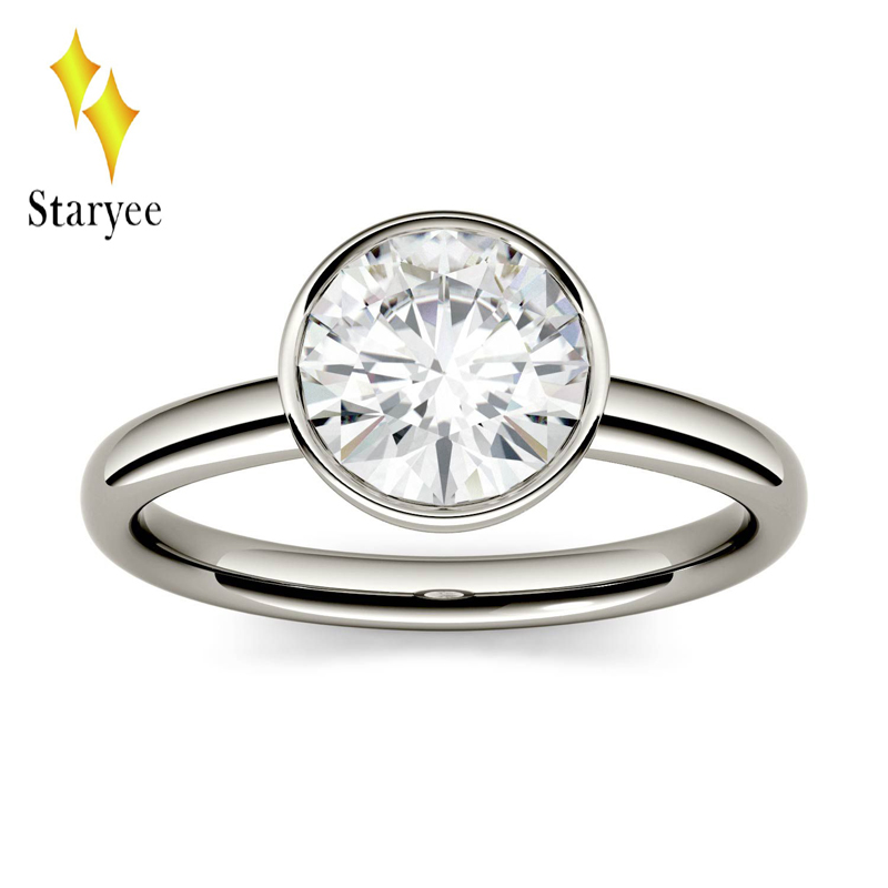 STARYEE 1.0 ct 6.5mm Lab Grown Moissanite Genuine Platinum PT950 Excell Cut Diamond Engagement Ring Fine Jewelry For Women trendy colorful printed high waist wide leg pants for women