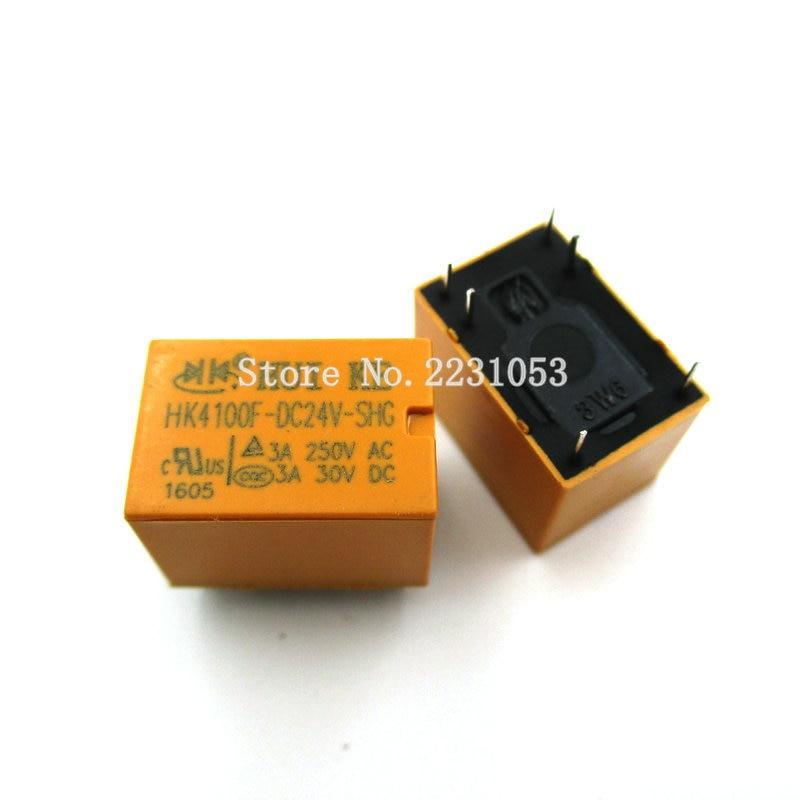 цена на 5PCS/LOT HK4100f-DC24V-SHG Relay hk4100F-DC24V HK4100F 24 V DIP6 3A 250V AC/ 3A 30V DC