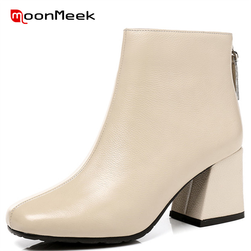 MoonMeek high quality autumn winter classic ladies boots hot sale square toe ankle boots elegant genuine leather boots zip shoesMoonMeek high quality autumn winter classic ladies boots hot sale square toe ankle boots elegant genuine leather boots zip shoes