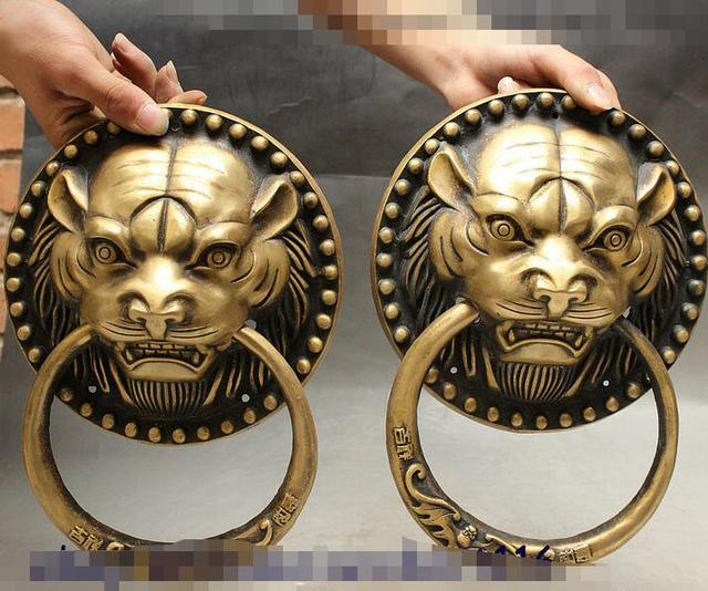 Chinese Evil Spirits Tiger Head Statue Valve Ring Door Knocker Gate Pair