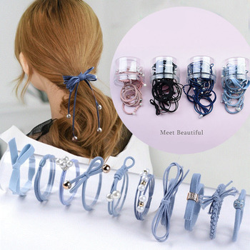 16pcs/lot Girls Hairband Multi Color Cute Pearl Elastic Rubber Bands Hair Ropes Ponytail Tie Gum Hair Accessories