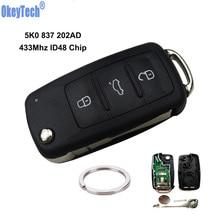 OkeyTech для V W Polo Sedan Golf 6 Passat B6 Volkswagen Touran Bora флип-ключ 5K0837202AD дистанционный пульт для автомобильных ключей HAA#31 HU66