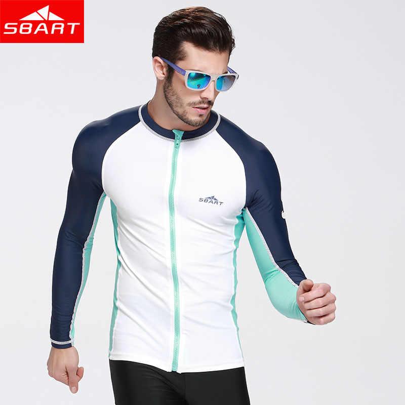 SBART erupción camisas con cremallera sol protección nadar Tops para hombres mujeres de manga larga de lycra surf chaqueta Plus tamaño