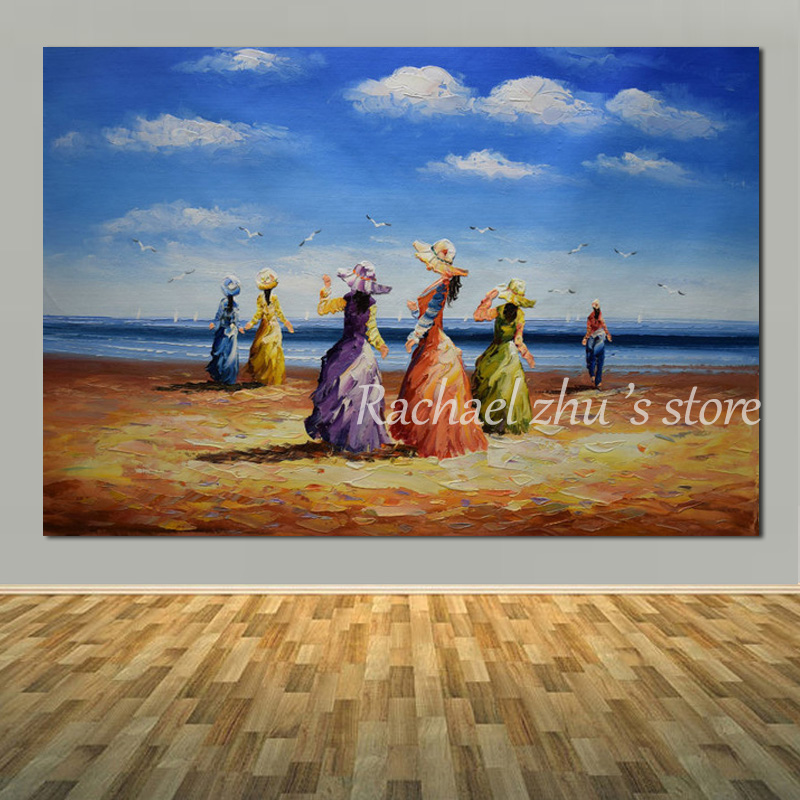 Hand Painted Abstract Summer Sea Beach Wall Oil Painting On Canvas Seascape Palette Knife Pictures For Living Room Home Decor