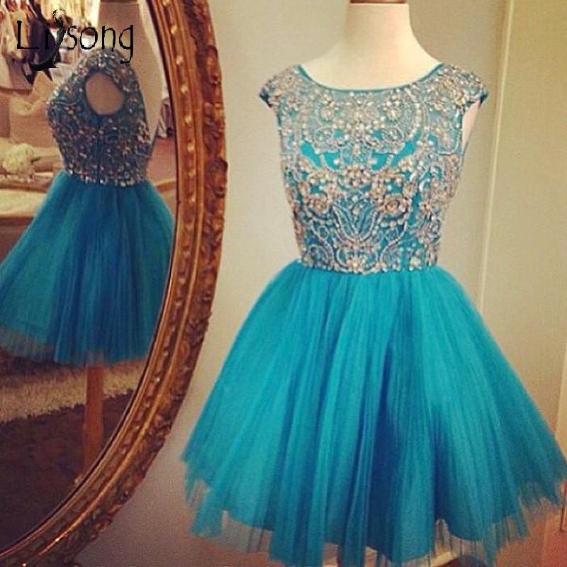 New Teal Crystal Beaded Graduation Party Dresses Short Cocktail Dresses Zipper Formal Prom Gown  Robe De Cocktail Open Back