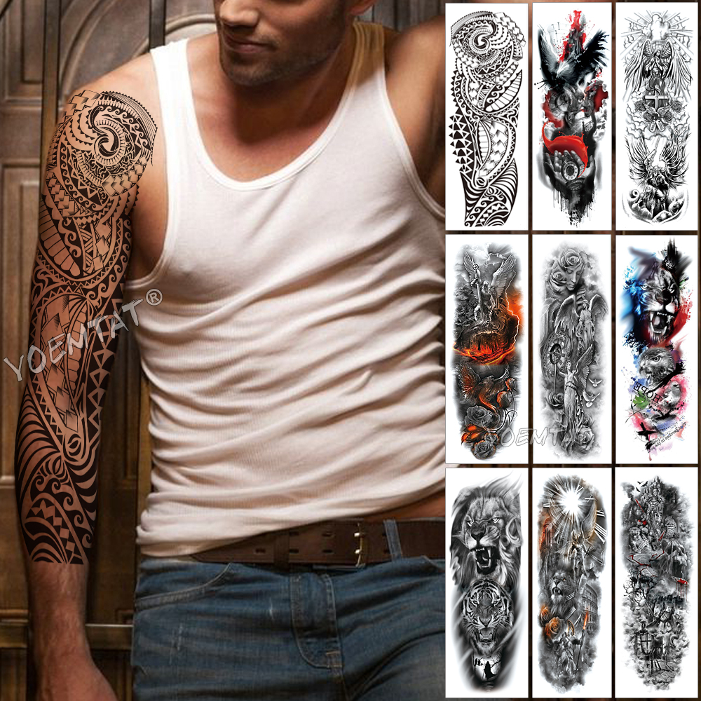 Large Arm Sleeve Tattoo Maori Power Totem Waterproof Temporary Tatto Sticker Warrior Samurai Angel Skull Men Full Black Tatoo