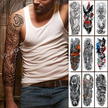 Grote Arm Mouw Tattoo Maori Power Totem Waterdichte Tijdelijke Tatto Sticker Warrior Samurai Angel Schedel Mannen Volledige Black Tatoo(China)