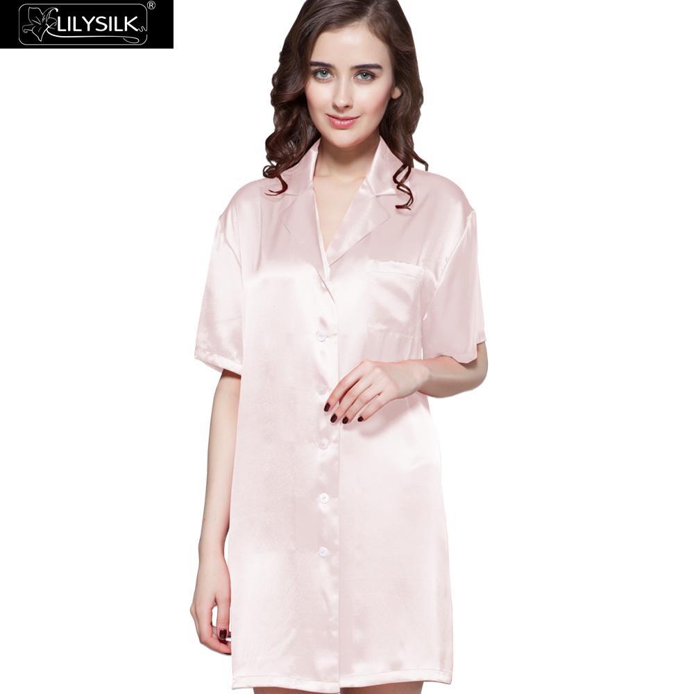 Lilysilk Nightgown Female Silk Night font b Shirt b font Dress Homewear for font b Women