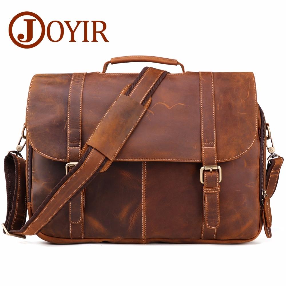 JOYIR Genuine Leather Mens Bags Tote Crossbody Briefcase Laptop Messenger Bag shoulder bag Handbags6303