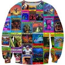 2018 Spring Autumn Goosebumps Cover For Women /Man Tracksuit 3D Printed Sweatshirt 90s magazine Pullover Plus Size XS-7XL