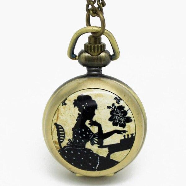 Винтаж Lady играть в шахматы карманные часы Цепочки и ожерелья