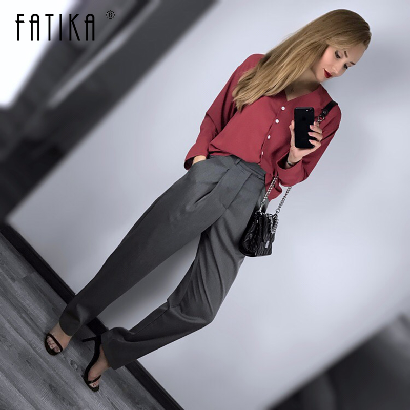 Fatika Women Spring Autumn   Wide     Leg     Pants   Long   Pants   Loose Stylish High Waist Solid Trousers 2019 Hot For Women