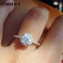 Canner Big Crystal Rings For Women Wedding Band Round Cubic Zirconia CZ Ring Engagement Promise Female Bijoux Jewelry bague