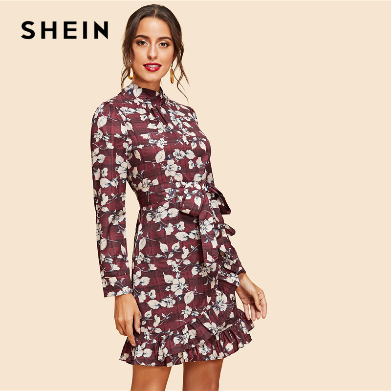 7d764a33ea4 Detail Feedback Questions about SHEIN Multicolor Weekend Casual Ruffle Hem  Flower Print Belted Dress Elegant Short Dresses Women Autumn Mini Dress on  ...
