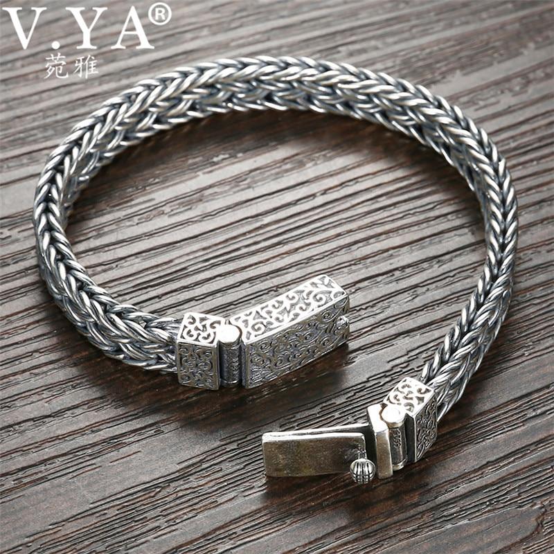 V. YA Handmade ciężki srebrny bransoletka 925 Sterling srebrne bransoletki bransoletki męskie Biker biżuteria bileklik 17 cm 22 cm w Bransoletki łańcuszkowe od Biżuteria i akcesoria na  Grupa 1