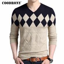 COODRONY кашемировый шерстяной свитер для мужчин осень зима приталенный пуловер для мужчин с узором в виде Аргайла с v-образным вырезом мужские Рождественские свитера