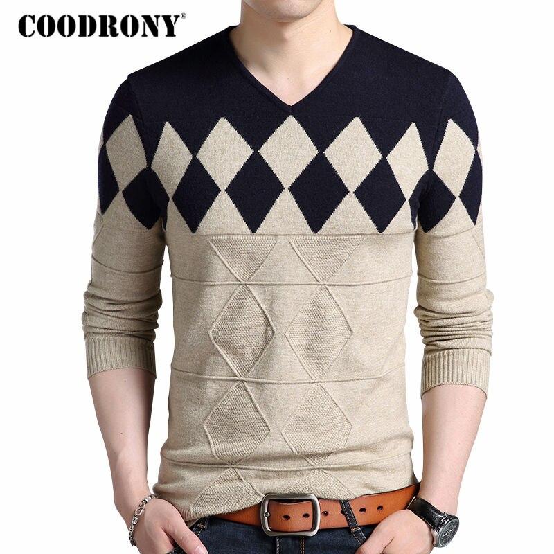 Coodrony кашемир свитер Для мужчин 2017 осень-зима Slim Fit Пуловеры для женщин Для мужчин ромбовидным рисунком v-образным вырезом тянуть Homme Рождество Свитеры для женщин