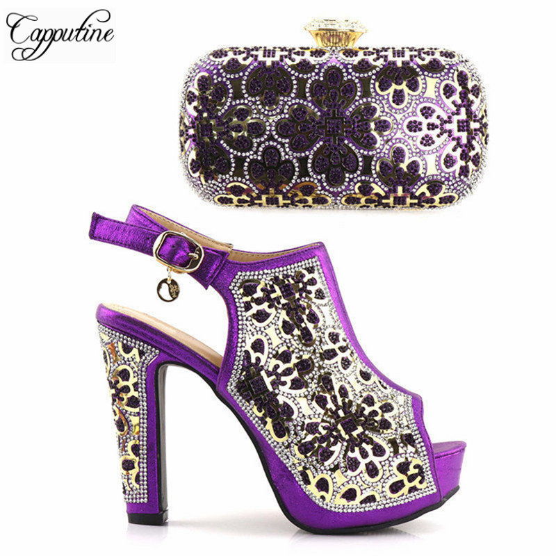 Capputine High Quality Purple Beautiful Fashion Shoes And Bag To Match Italian Party Shoes And Bag Set Women High Heel Shoes high tech and fashion electric product shell plastic mold