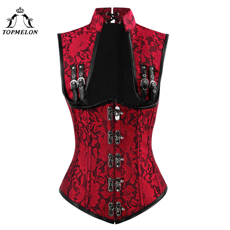 TOPMELON Vintage Steampunk Cut Out Bustier Gothic Steel Bone Corselet Women Sexy Floral Push Up Tops for Shows Performance