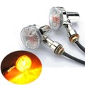 2x Front & Rear Chrome Universal Motorcycle Turn Signals Indicators Lights Amber