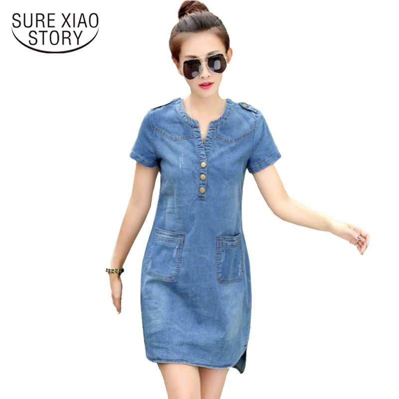 2016 new arrival summer women denim dresses short sleeves loose A word dresses plus sizes v-neck solid denim dresses 176A 25