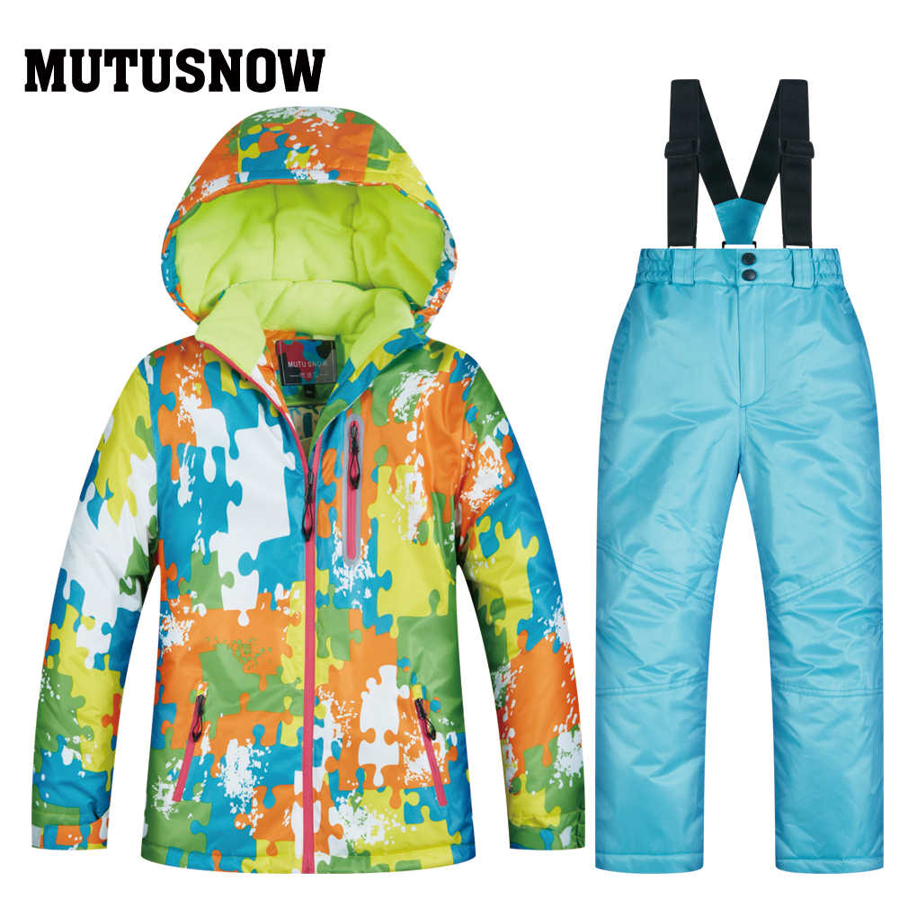 Высокое качество детский лыжный костюм супер теплый мальчиков и девочек Лыжная куртка брюки набор Водонепроницаемый куртка для сноуборда зимняя детская Лыжный Спорт костюм