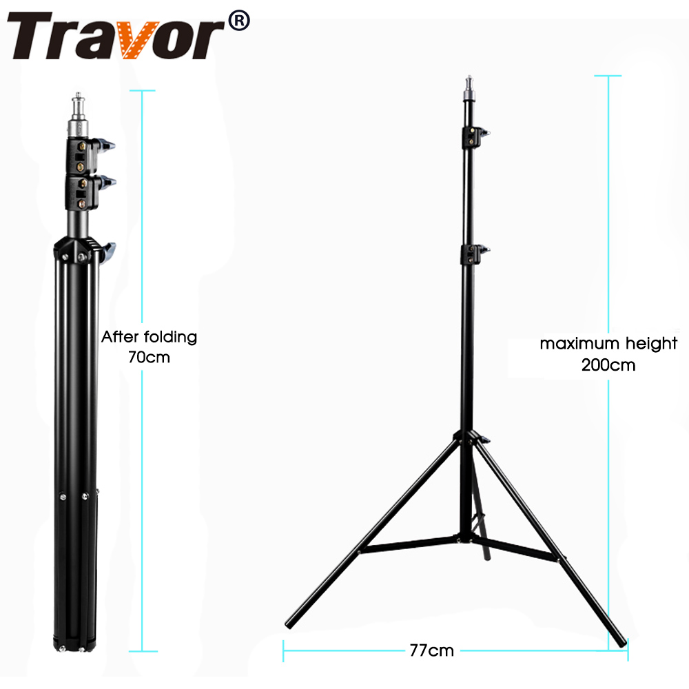Travor Foldable Light Stand Tripod Aluminum Professional for LED Ring Light Video Light Outdoor Photography studio shooting
