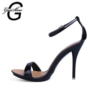 2016 Sexy Thin High Heels Sandals Women Shoes Candy Colors Buckle Solid Patent Leather Ankle Strapy