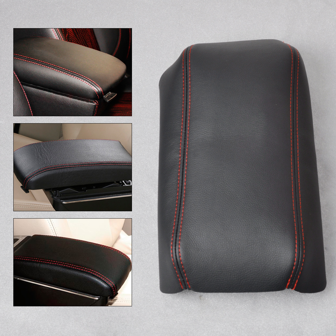 CITALL Black Leather W/Red Stitching DIY Front Console Lid Armrest Cover Decoration for Honda Accord 2003 2004 2005 2006 2007