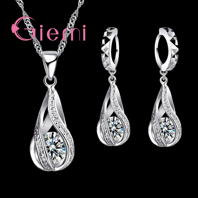 100% 925 Sterling Silver New Water Drop Cubic Zircon Pendant Necklace&Earrings For Women Ladies Jewelry Sets Wedding