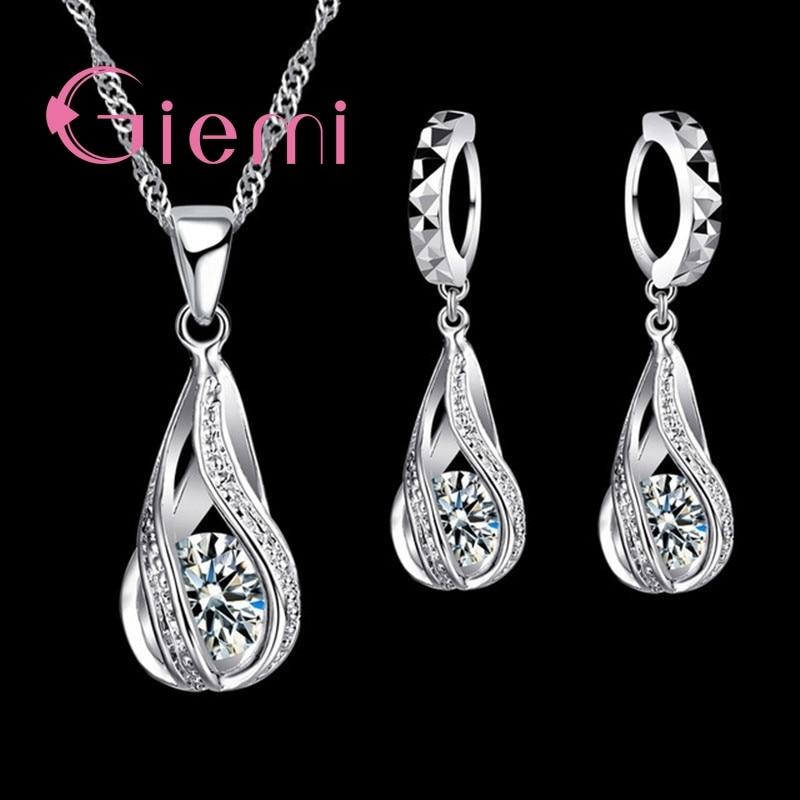 100% 925 Sterling Silver New Water Drop Cubic Zircon Pendant Necklace&Earrings For Women Ladies Jewelry Sets Wedding