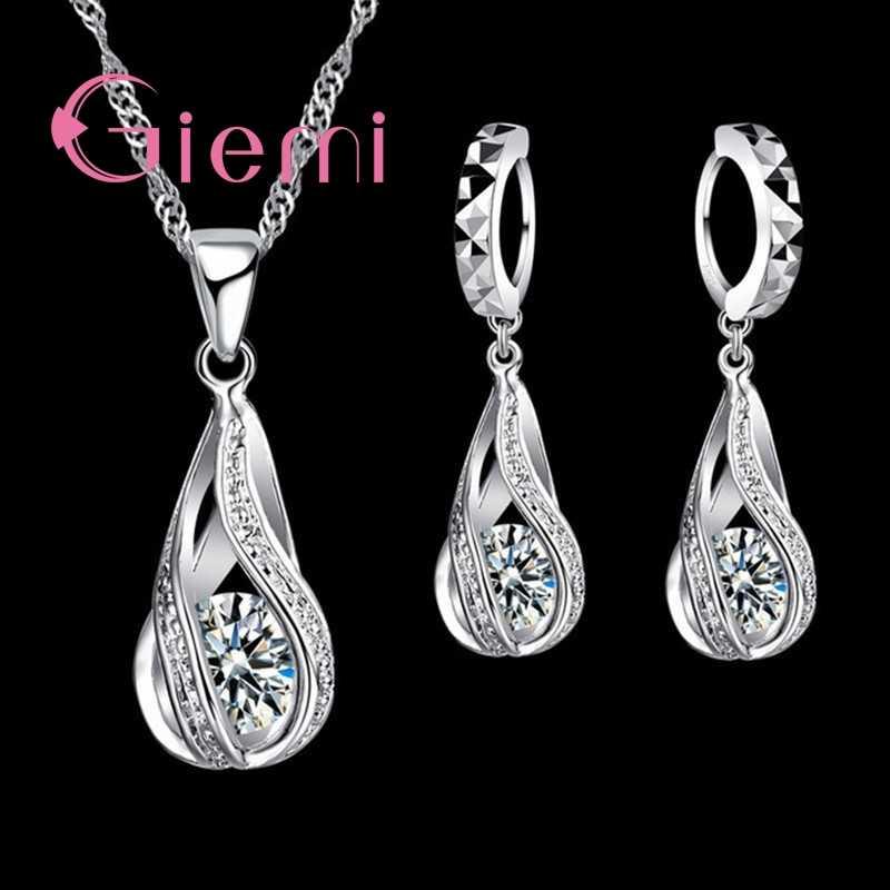 2019 100% 925 Sterling Silber Neue Wasser Tropfen Kubische Zirkon Anhänger Halskette & Ohrringe Für Frauen Damen Schmuck Sets Hochzeit