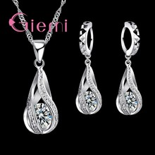 2019 100% 925 Sterling Silver New Water Drop Cubic Zircon Pendant Necklace&Earrings For Women Ladies Jewelry Sets Wedding(China)
