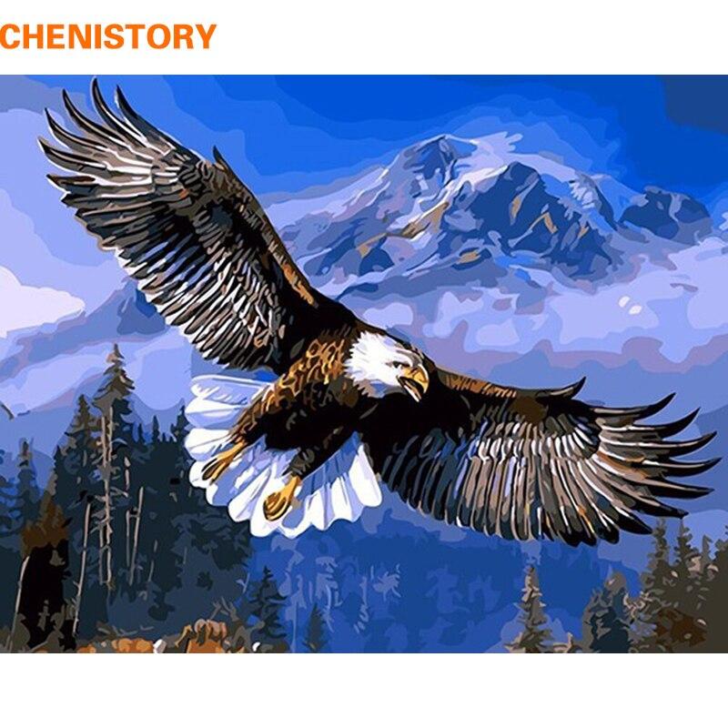 CHENISTORY Aigle Animaux Peinture DIY Par Les Kits de Nombres Peinture Sur Toile Acrylique Coloriage Painitng Par Numéros Pour La Maison Mur Décor