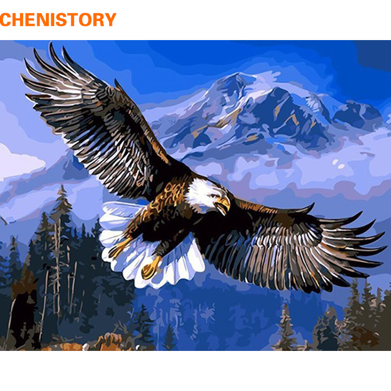 CHENISTORY Eagle Animals DIY Painting By Numbers Kits Paint On Canvas Acrylic Coloring Painitng By Numbers For Home Wall Decor