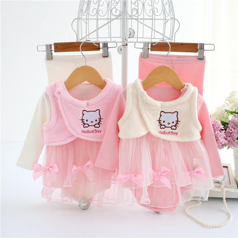 Siyubebe Newborn Baby Girl Clothes Set Hello Kitty Cotton Lace Ropa Baby Girl Rompers + Pant + Vest 3PCS Infant Girls Jumpsuit newborn baby rompers baby clothing 100% cotton infant jumpsuit ropa bebe long sleeve girl boys rompers costumes baby romper