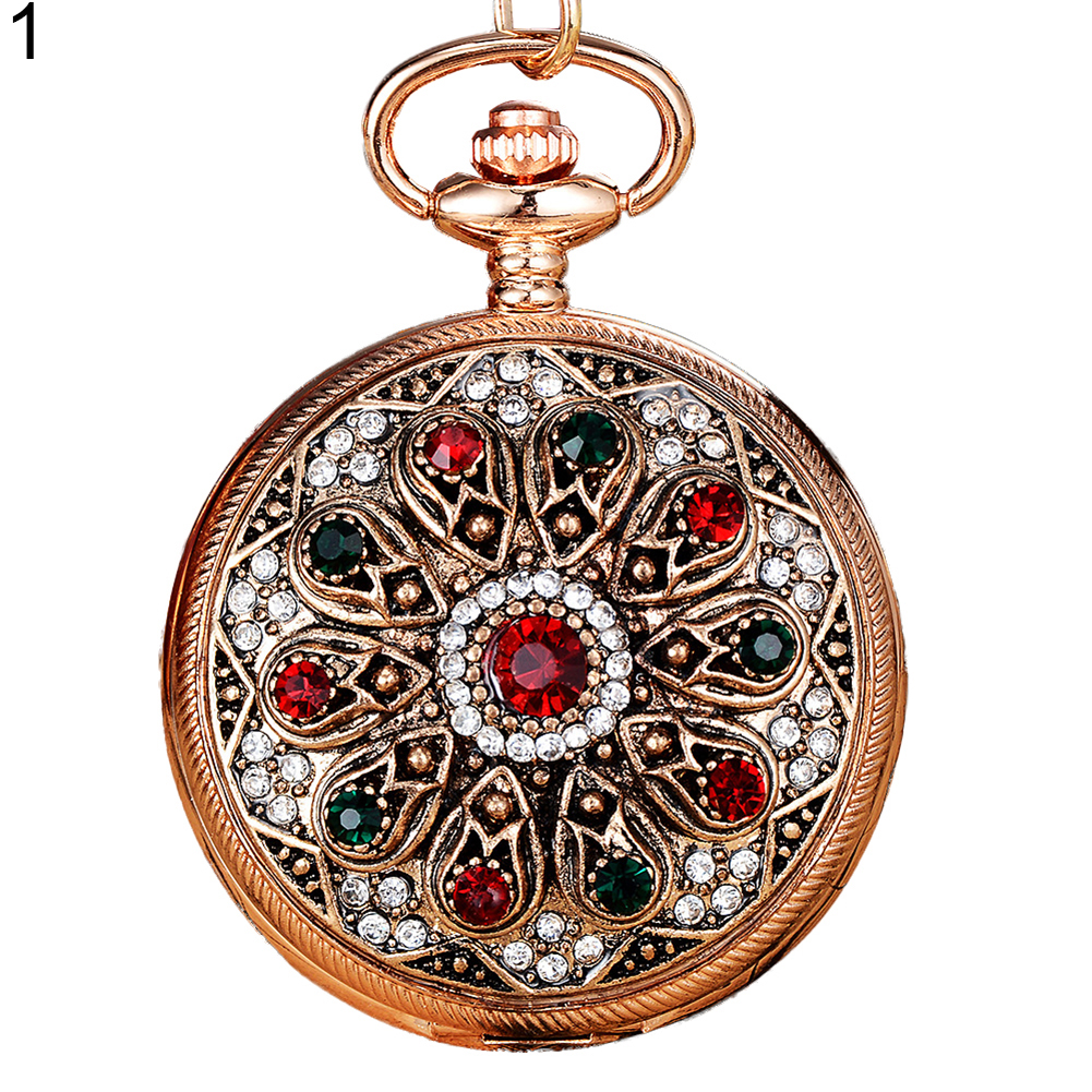 Women's Vintage Carved Multicolor Rhinestone Inlaid Luxury Pocket Watch Gift