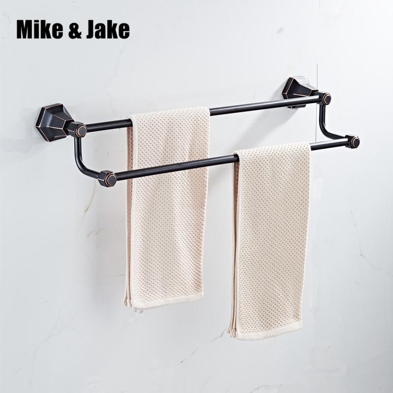 где купить Double towel bars Black chrome Wall Mounted Towel Holder Towel Racks Towel Hanger Bathroom Accessories Bath hardware 7001 по лучшей цене