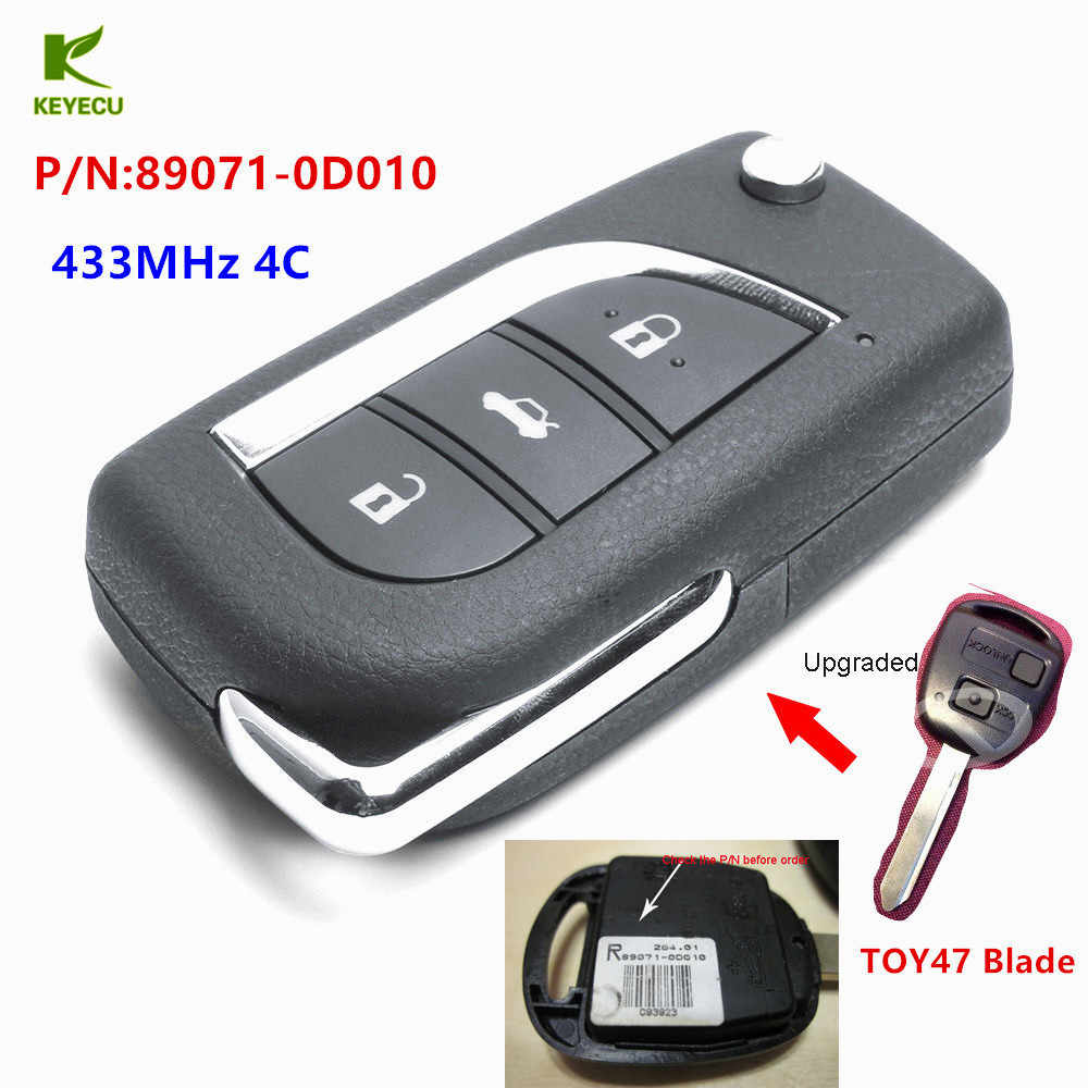 KEYECU Replacement New Upgraded Remote Key Fob 433MHz 4C for Toyota Yaris  Avensis Corolla Carina P/N: 89071-0D010 + TOY47 blade