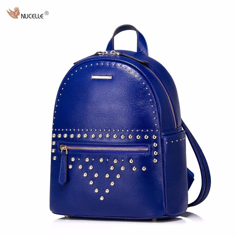ФОТО NUCELLE Brand Design Punk Rivets Genuine Cow Real Leather Women Ladies Girls Backpacks Shoulders School Travel Feminine Bags