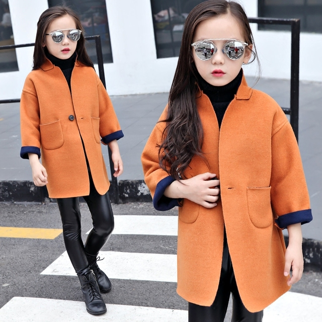 2016 winter children's clothes girls coats fashion solid long section baby girl woolen blends coats for girls kids outerwears