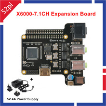 New Arrival X6000-7.1CH Expansion Board for Raspberry Pi 1 Model B+/ 2 Model B / 3 Model B With Power Supply