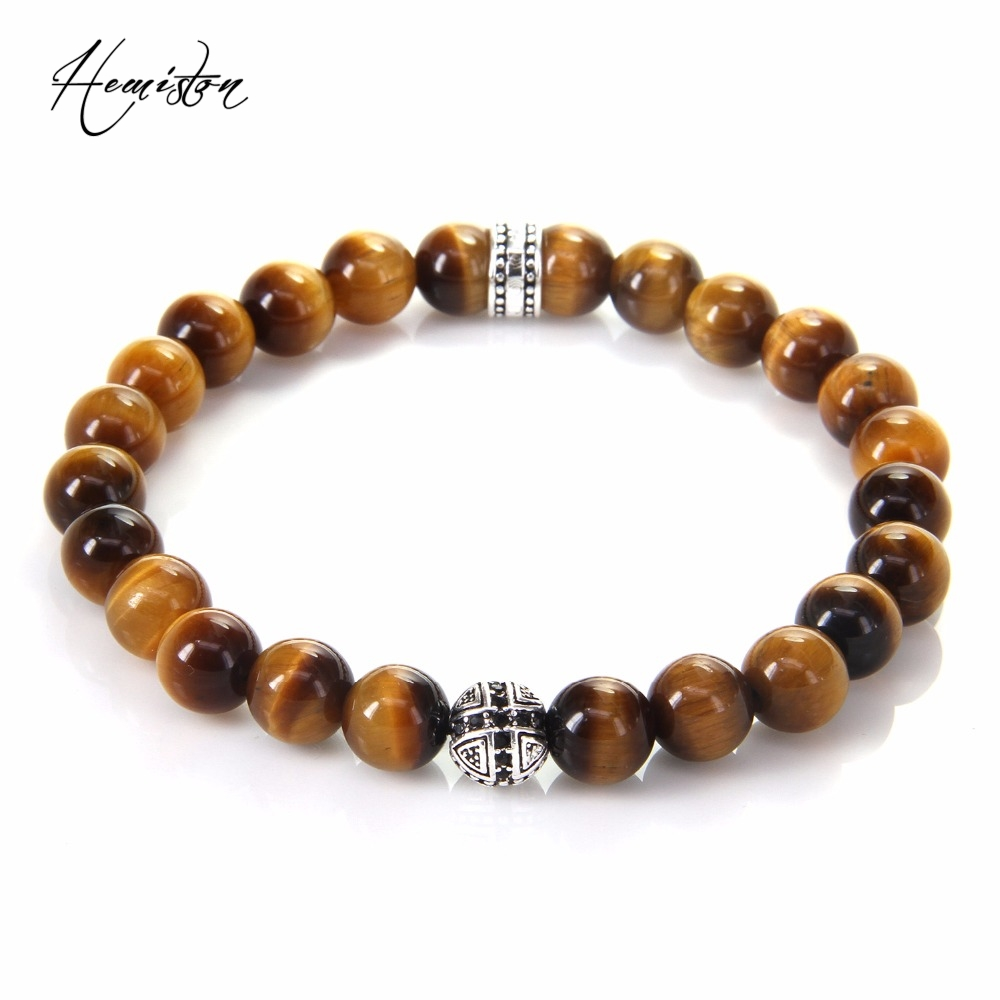 Hot Thomas AAA Tiger's Eye Beads Pulsera elástica con Cross Hero Bead, European Rebel Heart Jewelry Gift para hombres TS B248
