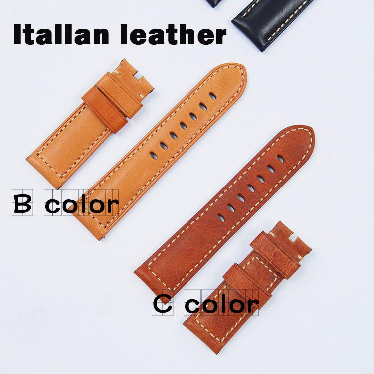 Prix pour Italie Cuir Véritable Bracelet De Montre 24mm de Bande de Montre Noir Brun Clair Bracelets