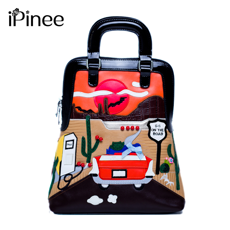 IPinee Luxury Embroidery Backpack Women Designer Creative Cartoon Bags Fashion Crossbody Bag For Women Multifunction Bag