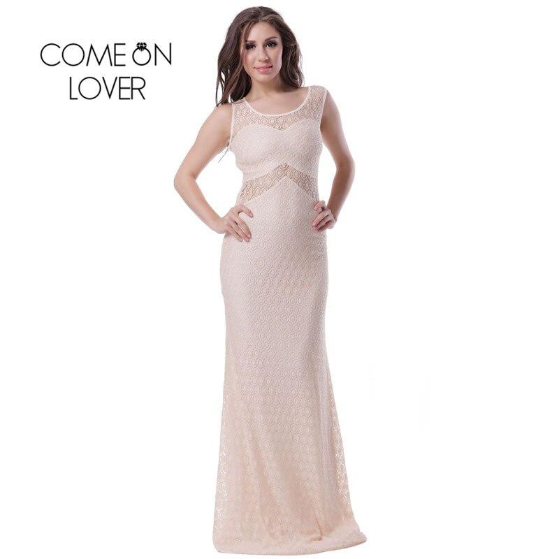 Aliexpress Com Buy Simple Elegant See Through Lace Part: RI70346 Comeonlover Women Sleeveless Long Dress Part See