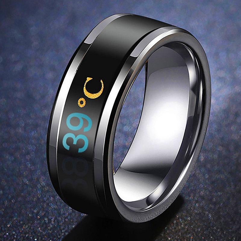 Temperature Ring Titanium Steel Mood Emotion Feeling Intelligent Temperature Sensitive Rings for Women Men Waterproof Jewelry
