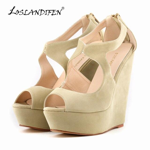 LOSLANDIFEN New Elegant Ladies Pumps Platform Peep Toe Velvet High Heels Shoes Wedges Wedding